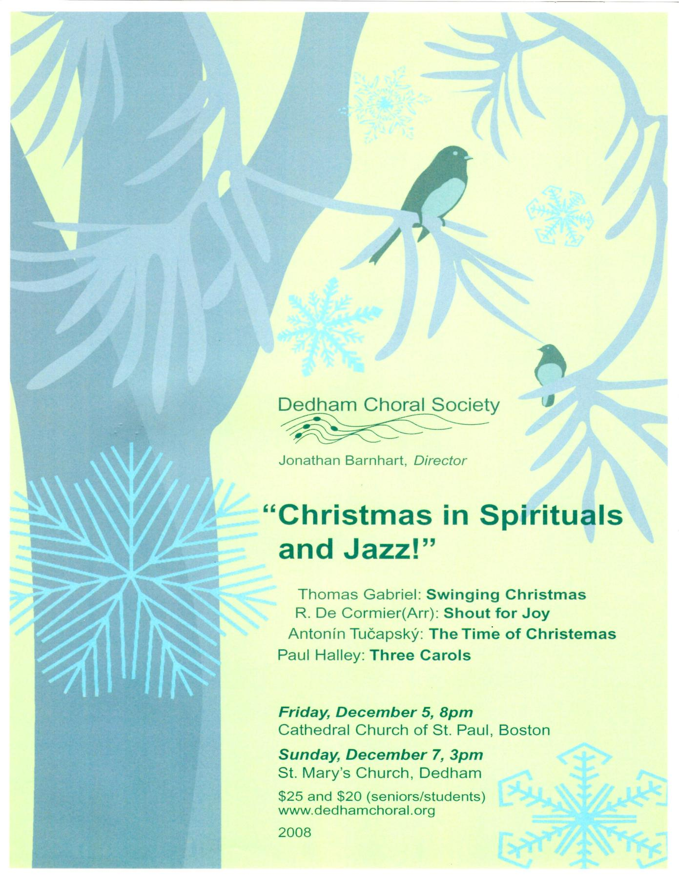 Dedham Choral Society – Christmas in Spirituals and Jazz! (Winter 2008)